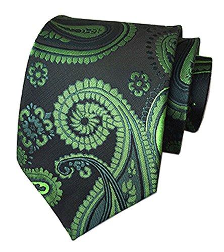 Designer Olive Velvet (Secdtie Men's Black Green Tie Floral Fashion Woven Silk Paisley Necktie A09)