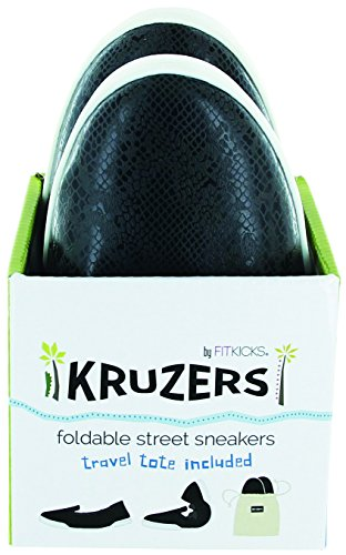 FitKicks Kruzers Foldable Slip-on Street Sneakers with Full Rubber Sole for Superior Comfort, Includes on-The-Go Travel Tote by (Medium 7-8, Black Sheep)