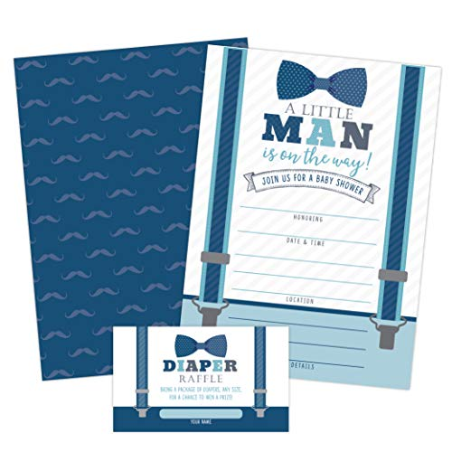 Little Man Baby Shower Invitations, Boy Baby Shower Invites with Diaper Raffles Cards, Bow Tie and Mustaches, Sprinkle, 20 Invites Including Envelopes]()