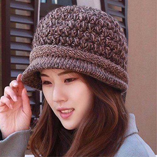 Moda Sombrero Sra La Tejer Púrpura Cap Hat Invierno mz Yangfeifei Pescador Madre Ciclismo Brown Mayores Cuenca SpAoXHUwq