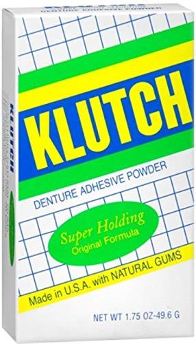 Klutch Denture Adhesive Powder Super Hold 1.75 oz (Pack of 10) (Denture Adhesive Klutch)