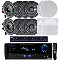 Pyle KTHSP390SV 4-Room In-Wall / In-Ceiling Speaker System, 4 x 150W 5.25 Stereo Speakers w/ 300W Digital Stereo Receiver USB/SD/AUX Input, Remote w/ 4 Channel High Power Stereo Speaker Selector W/ Built-in Volume Control