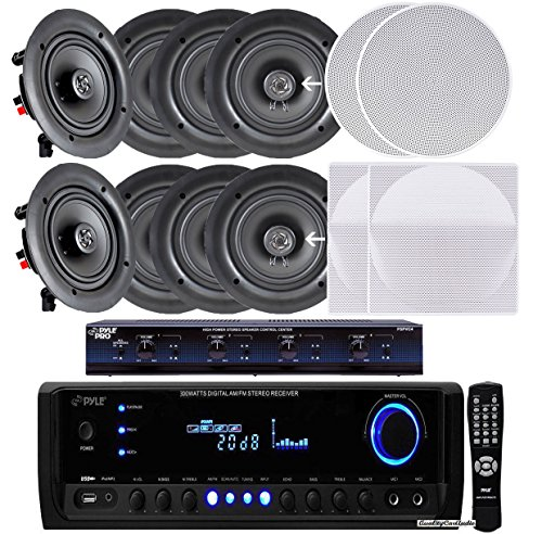 Pyle KTHSP390SV 4 Room In Wall In Ceiling Speaker System 4 x