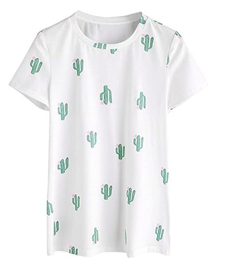 Ev Et Womens Cactus Shirt Cacti Plants Print Tops Tee Short Sleeve