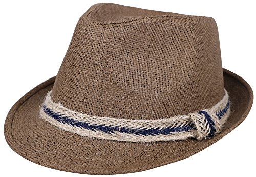 Simplicity Panama Style Fedora Straw Sun Hat with Band,DkBrown