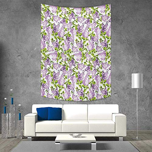 smallbeefly Mauve Wall Tapestry Spring Tree Vibrant Blossoms Frangrance Botany Plant Eco Illustration Print Home Decorations Living Room Bedroom 40W x 60L INCH Lilac Green
