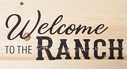 P. GRAHAM DUNN Welcome to The Ranch Natural 10 x 5.5 Solid Wood Plank Wall Plaque Sign