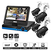 Home Security Camera System, 4CH 960p AHD Video Security System DVR and 4 Indoor/Outdoor Weatherproof Surveillance Cameras with 100ft IR Night Vision LEDs (with Display Screen, 1TB HDD)