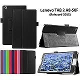 Lenovo Tab 2 A8-50 Carcasa,Negro Protección Funda de Cuero Flip Case Smart Cover para Tableta Lenovo Tab 2 A8-50 8'' Pulgadas 2015 Edition Funda Carcasa Piel con Función Soporte