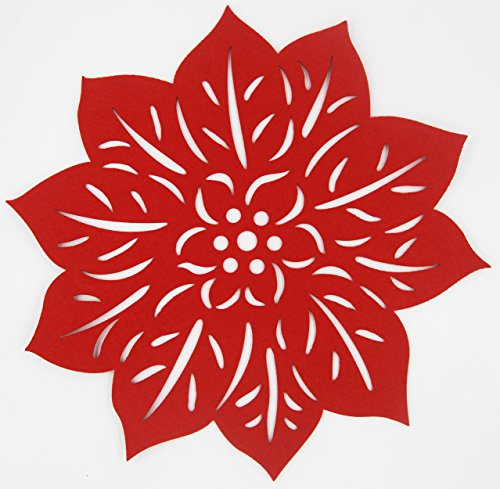 Matjoys Poinsettia Festival Felt Placemats - 38 cm (15 Inch) Round - Liquid Absorbent & Heat Resistant, Set of 4 Place Mats (Felt Poinsettia)