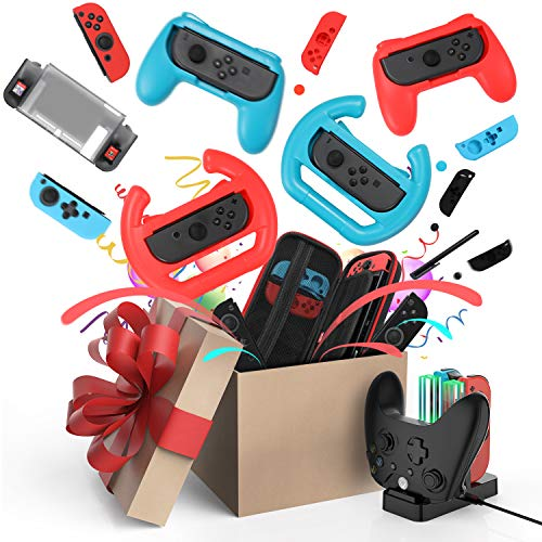 Accessories Kit for Nintendo Switch Games Bundle Carrying Case, Protective Case, Screen Protector, Joystick Cap, Charging Dock, Joy-con Grip, Case and Steering Wheel for Nintendo Switch(21 in 1)