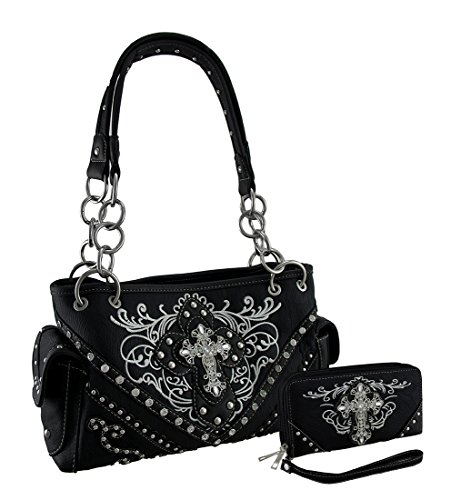 Embroidered Western Concealed Carry Purse and Wallet w/Rhinestone Cross (Black) (Rhinestone Purse And Wallet Set)