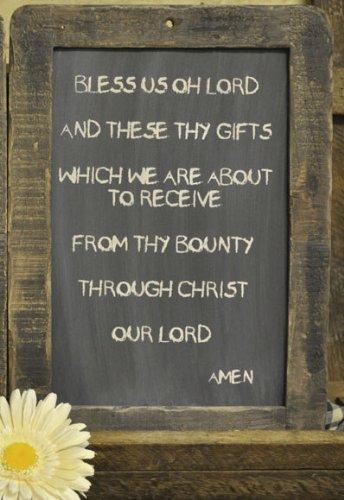 "Framed Prayer Blackboard - Bless Us Oh Lord - 13-3/4"" Primit"