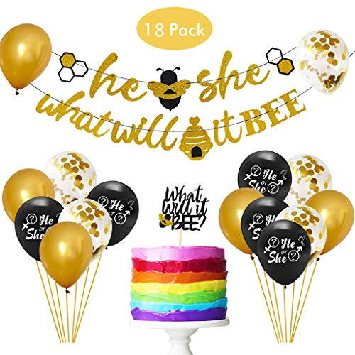 18Pcs Gender Reveal Party Decorations Set, DreamJ What Will it Bee Banner He or She Banner Gold Confetti Latex Balloons and Bee Cake Topper for Baby Shower Party Supplies