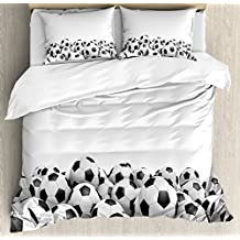Ambesonne Sports Decor Duvet Cover Set Queen Size, Illustration of Soccer Ball Championship Tournament Stadium Exercise, Decorative 3 Piece Bedding Set with 2 Pillow Shams