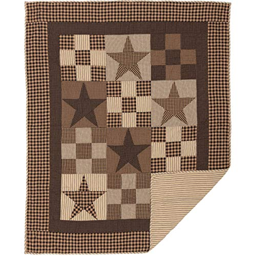 The BitLoom Co. Rustic Country, Star Patch Black Throw Quilt ()