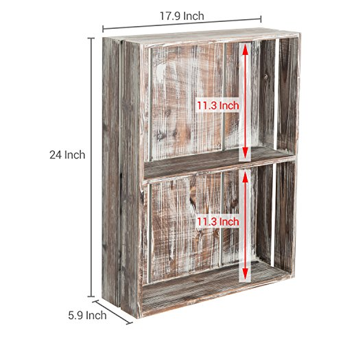 MyGift 24-Inch Rustic Torched Wood Crate Floating Display Shelf by MyGift (Image #6)