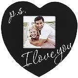 Malden International Designs Celebrated Moments P.S. I Love You Black Wood Heart Picture Frame, 3.5x3.5, Black