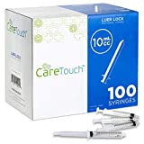 10ml Syringe Only with Luer Lock Tip - 100 Syringes by Care Touch (No needle)