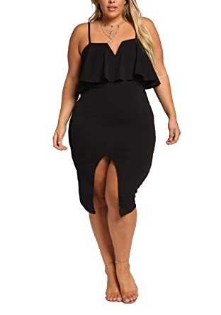 Debshops Womens Plus Size Plunge Layered Slit Bodycon Dress At