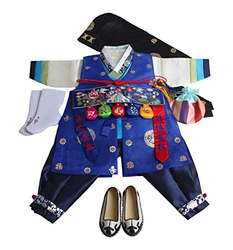 Korean Hanbok Boys Baby's Traditional Original DOLBOK 1st Birthday hb058/1 Blue]()