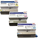 OKI Data 44318601, 44318602, 44318603 Standard Yield Toner Cartridge Set Colors Only (C/M/Y)