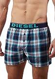 Diesel Men's Luv Plaid Woven Boxer, Black/Blue, Large