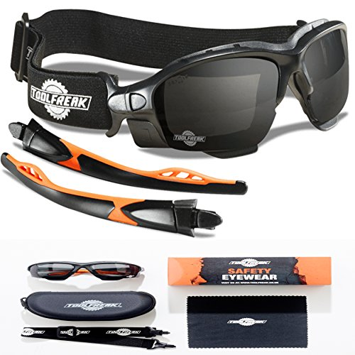 ToolFreak Spoggles, Safety Glasses and Protective Goggles, Eyewear Foam Padded for Comfort and Better Protection, ANSI Z87 Rated, Smoke Tinted Lens with Impact and UV ()