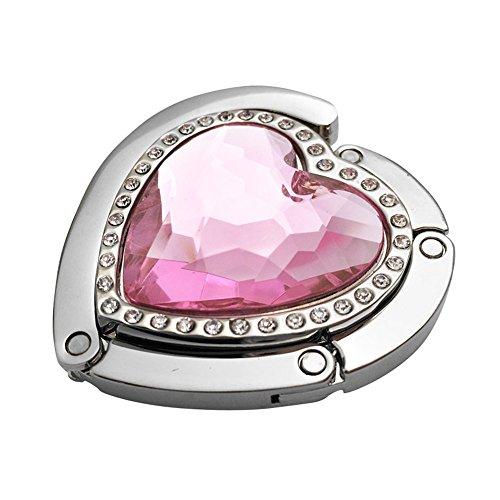 Crystal and Rhinestone Heart Folding Hanging Hook (Pink)