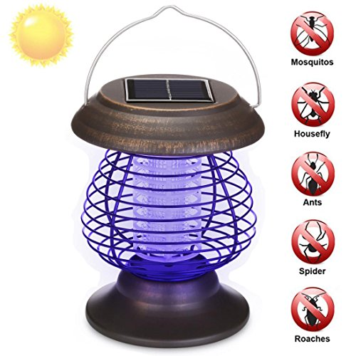 (Exteren Solar Powered Portable Electric Mosquito Lamp Mosquito Killer Lamps Solar Bug Zapper Waterproof Outdoor For Camping Traveling Mosquito Repeller (Brown) )
