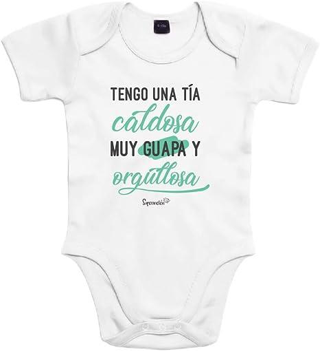 SUPERMOLON Body bebé algodón Tengo una tía caldosa 3 meses Blanco ...