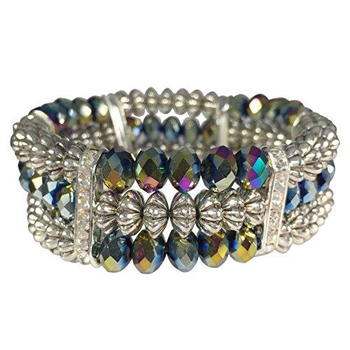 3 Row Metallic Glass Beaded & Rhinestone Silver Tone Stretch Bracelet (Vitrail Medium Rainbow)