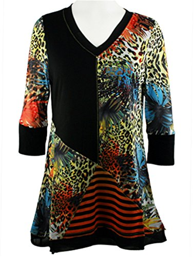 Lior Paris - Safari Patterns, 3/4 Trimmed Sleeves, Animal Print Tunic - Animal Tunic Print Trimmed