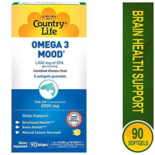 Country Life - Omega 3 Mood, with EPA and Fish Oil Concentrate - 90 Softgels