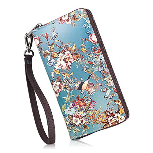 APHISON Wallets for Women Card Holder Zipper Purse Phone Clutch Wallet Painting Wristlet with Wrist Strap/Gift Box (684-0031)