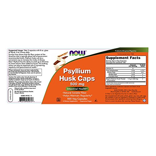 NOW Psyllium Husk 500 mg,500 Capsules by NOW Foods (Image #2)