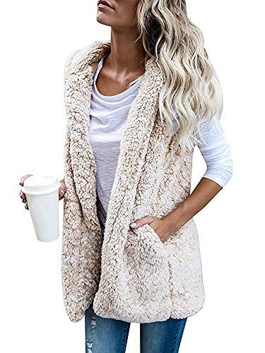 Womens Sleeveless Fuzzy Vest Jacket Hoodies Open Front Cardigan Outerwear