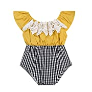 GRNSHTS Baby Girls Lace Plaid Patchwork Off Shoulder Romper (80/6-12 Months, Yellow top + Black White Plaid Bottom)