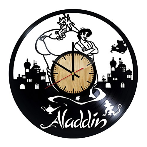 ForLovedGifts Aladdin Disney Design Vinyl Wall Clock - Handmade Gift for Any Occasion - Unique Birthday, Wedding, Anniversary, Wall décor Ideas for Any Space (Aladdin And The King Of Thieves Part 2)