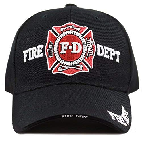 THE HAT DEPOT Law Enforcement Police Officer 3D Embroidered Baseball Cap (FIRE DEPT- Black) (Embroidery Fire Dept)