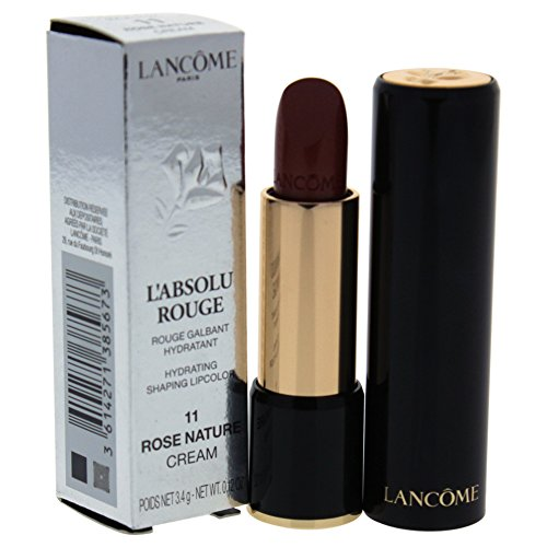 Lancome L'Absolu Rouge Hydrating Shaping Lip Color For Women, No.11 Rose Nature, 0.12 Ounce ()