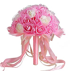 Yu2d  Crystal Ribbon Roses Bridesmaid Wedding Bouquet Bridal Artificial Silk Flowers(Pink) 112
