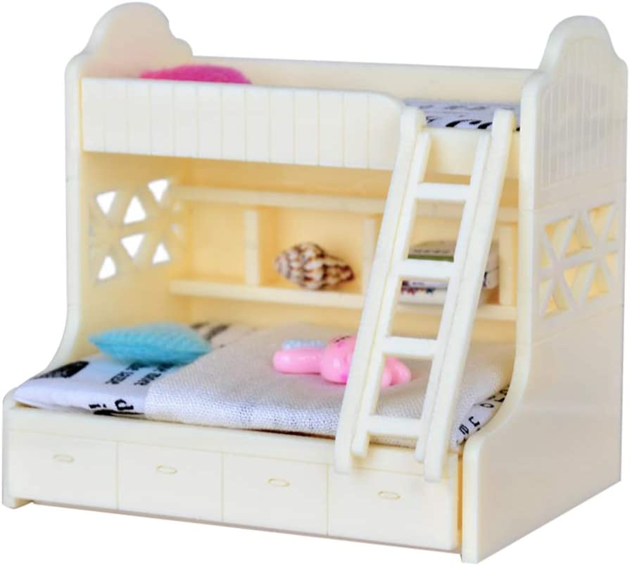 Fenteer 1/12 Dollhouse Miniature Children Bedroom Furniture Bunk Bed Double  Bunk with Accessories White Color