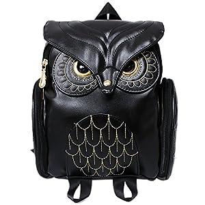 Women Girls Pu Leather Owl Cartoon Backpack Fashion Casual Satchel School Purse for Children/Students Black