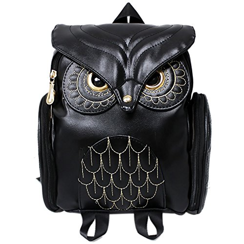 Women Girls Pu Leather Owl Cartoon Backpack Fashion Casual Satchel School Purse for Children/Students - Feminine Of Owl