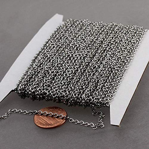 Stainless Steel Chain Bulk, 100 ft of Surgical Stainless Steel Medium Soldered Sturdy Cable Chain - 2.7x2.4mm SOLDERED Link