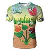 Cartoon Insects 3D Print Graphic Men's T-Shirt Short Sleeve Round Neck Tees Shirts For Men