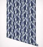 Kraska Herringbone Blue Chevron Wallpaper Self Adhesive Premium Quality Multi Purpose Peel & Stick Wallpaper - Ideal Decor for Home, Nursery, Kitchen, Bathroom, Office, Fridge - 24'' x 96''