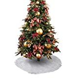 iMucci 30 inch Faux Fur Chirstmas Tree Skirt Snowy White Plush Velvet - Holiday Party Decoration