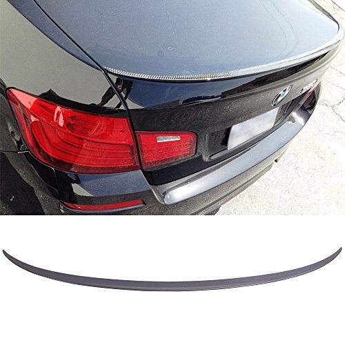 (Trunk Spoiler Fits 2011-2016 BMW 5-Series F10 | M5 Style Unpainted Raw Material Carbon Fiber CF Rear Tail Lip Deck Boot Wing by IKON MOTORSPORTS | 2012 2013 2014)